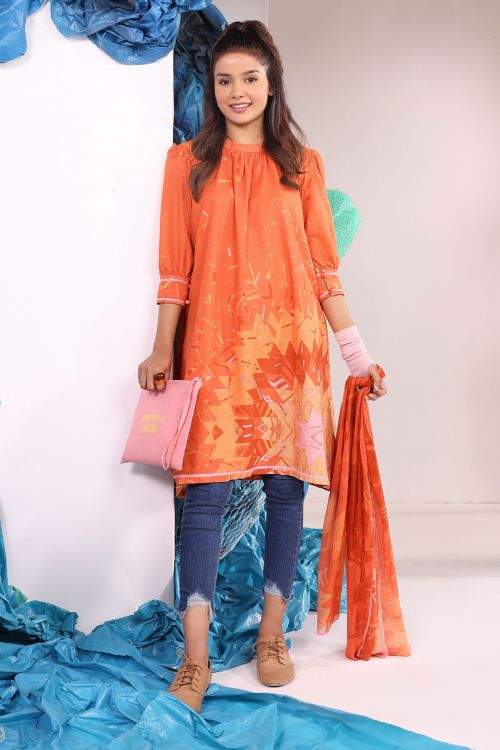 2 Pc Printed Khaddar Suit With Printed Khaddar Stole