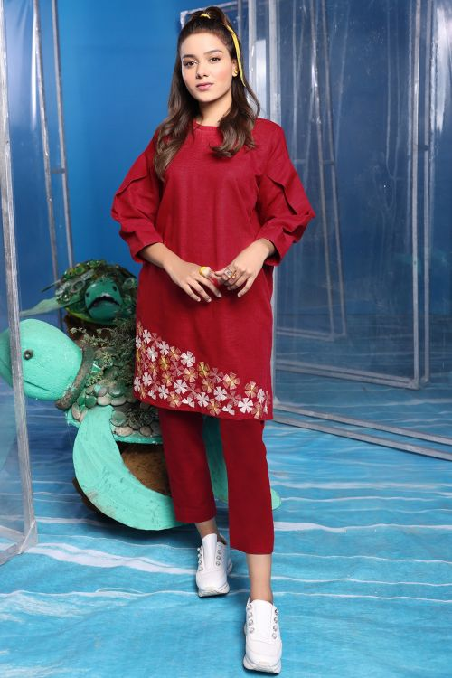 2 Pc Embroidered Khaddar Suit With Dyed Khaddar Trouser
